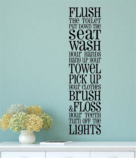 Bathroom Rules Vinyl Decal Wall Stickers Letters Words Art