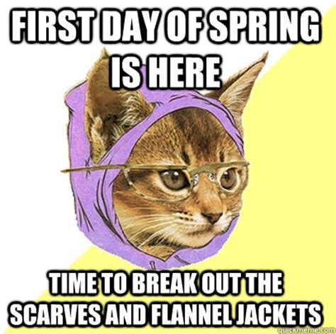 First Day Of Spring Meme - first day of spring is here time to break out the scarves and flannel jackets hipster kitty