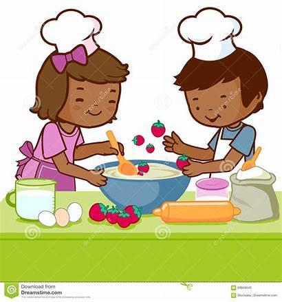 Cooking Kitchen Children African Boy Cartoon Playing