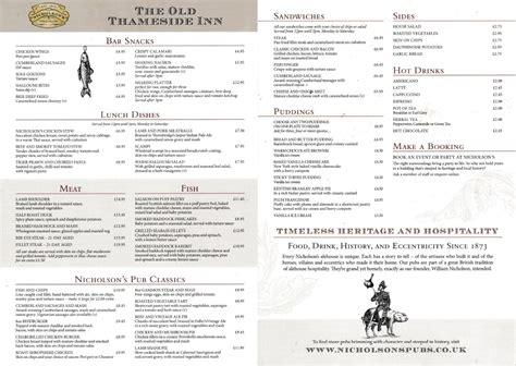 Menu Carte Restaurant Anglais by La Carte Du Restaurant 171 Thameside Inn 171 Gil Galasso