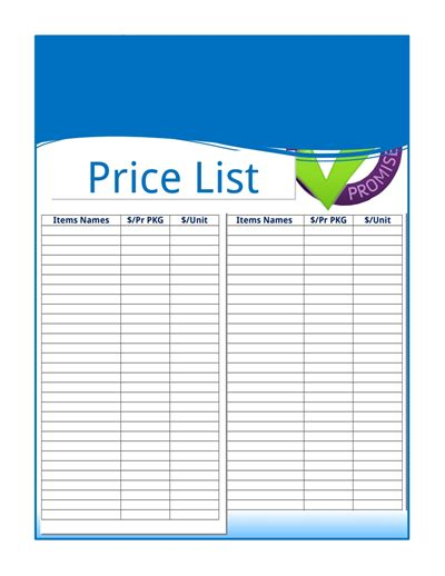 Price List Template Price List Template Free Create Edit Fill And