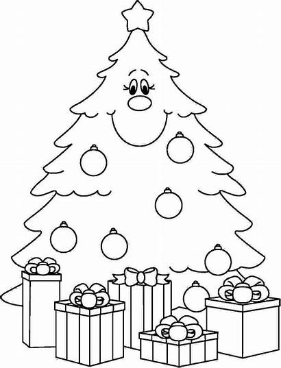 Coloring Tree Christmas Pages Presents Printable Children