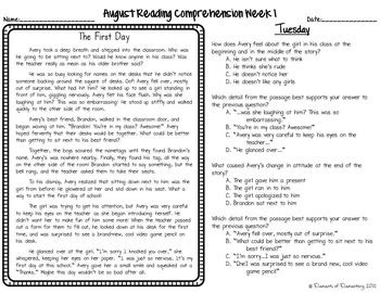back to school daily reading comprehension freebie by