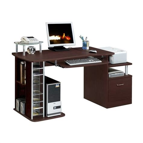 techni mobili desk assembly techni mobili w quot ter wood work station chocolate computer