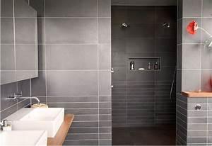 Modern Bathroom Tiles Curved Wall Mirror Dark Gray Tile