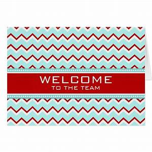 Teal Red Chevron Employee Welcome to the Team Card | Zazzle