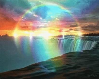 Rainbow Waterfall Sky Fantasy Falls Gifs Nature