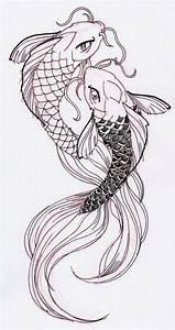 Two cool Koi Fish Ink Drawing | Koi fish drawing, Fish ...
