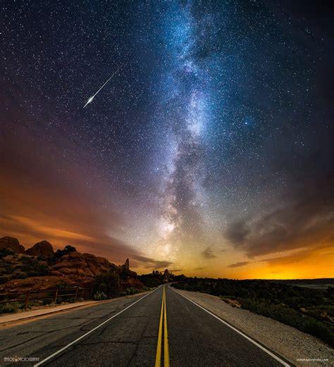 Wallpaper Landscape Night Galaxy Sky Road Long