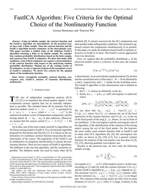 fastica algorithm  criteria   optimal choice   nonlinearity function