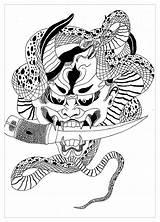 Coloring Demon Japanese Adults Japan Hannya Coloriage Japonais Japon Mask Krissy Temple Démon Dessin Adult Coloriages Blossom Cherry Masque Les sketch template