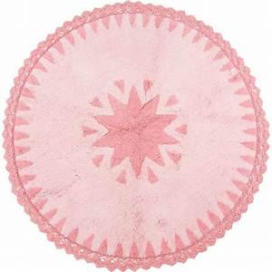 tapis warren rose rond avec dentelles en coton pour With tapis rond chambre fille