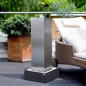 Edelstahl brunnen wasserspiele f r garten terrasse for Brunnen für terrasse