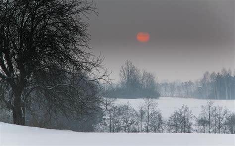 hd red moon  winter scene wallpaper