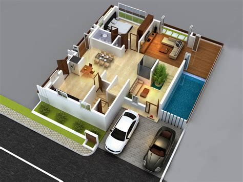 3d House Plans Indian Style View