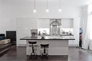 cuisine blanc laque avec ilot 1 grande cuisine loft With grande cuisine avec ilot central