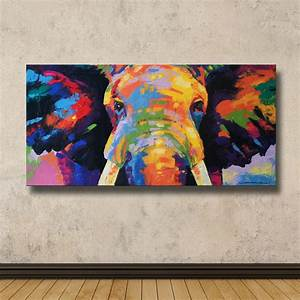 Colorful Elephant Painting 40cmH x 80cmW