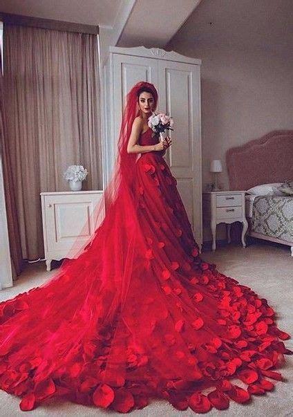 red wedding dresses  handmade flowers chapel