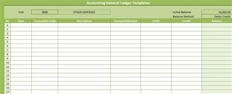 accounting ledger template accounting general ledger templates free spreadsheettemple