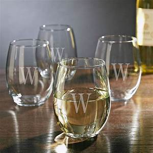 Personalized, Stemless, White, Wine, Glasses, Set, Of, 4