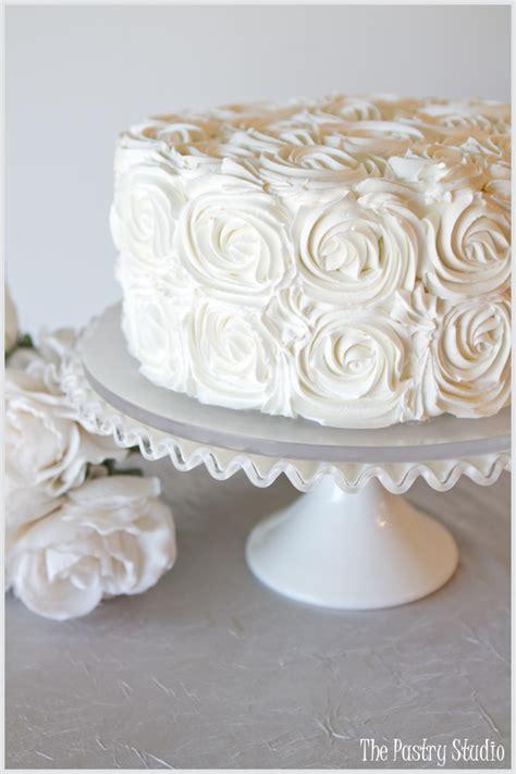 ivory buttercream rosette cake   pastry studio