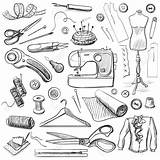 Fingerhut Mannequin Spools Bobbins Tailoring Mão Coser Cucito Costureira Desenhados Iconos Vetoriais Disegnato sketch template