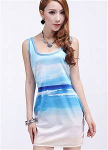 Light Blue Sea And Sky Print Sundress Mini Dresses For Women