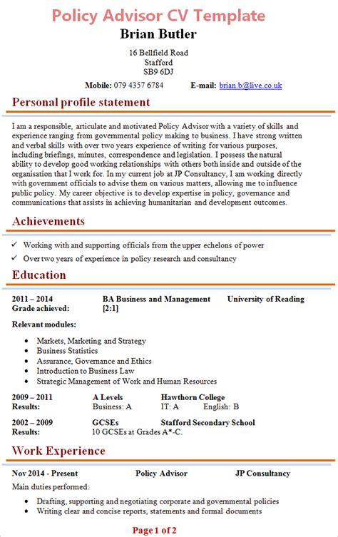 policy advisor cv