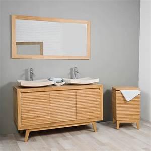 Meuble Vasque Bois Salle De Bain : meuble sous vasque double vasque en bois teck massif vintage naturel l 140 cm ~ Voncanada.com Idées de Décoration