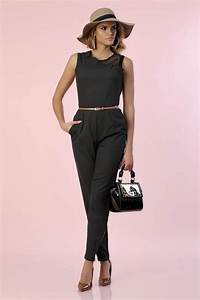 Combinaison Femme Pour Mariage : combinaison pantalon noire avec ceinture camel infinie ~ Mglfilm.com Idées de Décoration