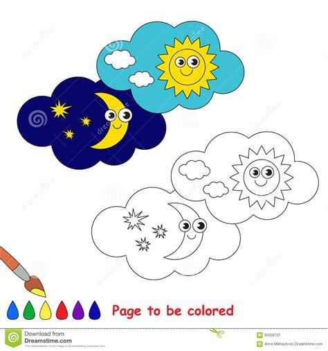giorno  notte nel fumetto  vettore da colorare