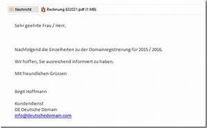 Anschreiben Rechnung Per E Mail : domainregistrierung betrugsversuch mit gef lschter ~ Themetempest.com Abrechnung