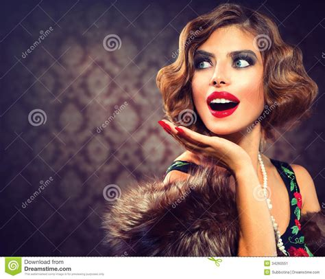Retro Woman Portrait Stock Image  Image 34260551