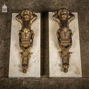 Pair, Of, 19th, C, Brass, Cherubs, Mounted, On, Marble, -, Brackets, U0026, Corbels, -, Architectural
