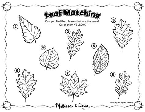 fall matching activity for printable activity