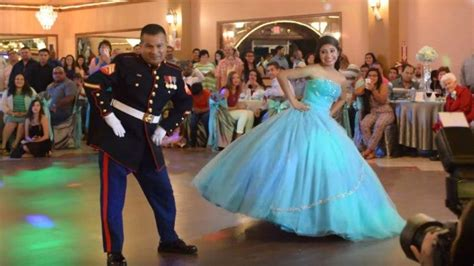 teen    marine dad surprise  quinceanera guests