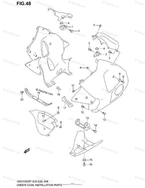 Suzuki Motorcycle Oem Parts Diagram For Under Cowl