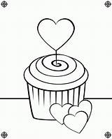 Cupcake Coloring Pages Cupcakes Drawing Cute Birthday Line Screen Print Heart August Clipart Icolor Printing Popular Designs Paste Eat sketch template