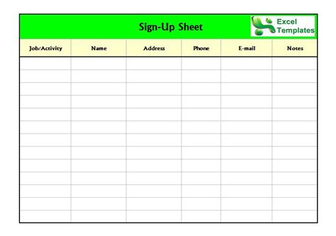 Sign Up Sheet Template Free Sign In Sign Up Sheet Templates Excel Word