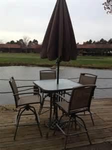 500 obo patio high top table 4 swivel chairs umbrella