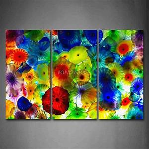 Piece wall art painting colorful stained glass picture