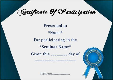 certificate  participation  seminar template sample