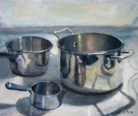 pots pans still oil reflective paintings dotson canvas