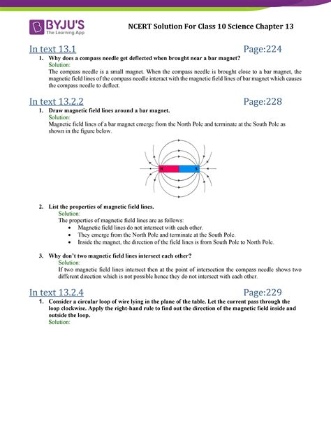 ncert solutions class 10 science chapter 13 magnetic effects of electric current updated for