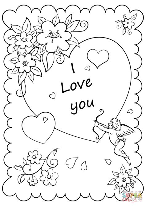 valentines day card  love  coloring page