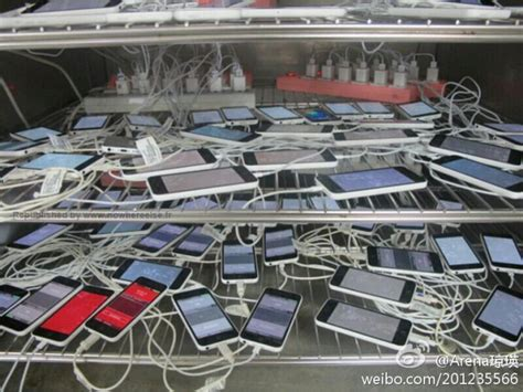 iphone factory picture shows apple iphone 5c units getting tested at the