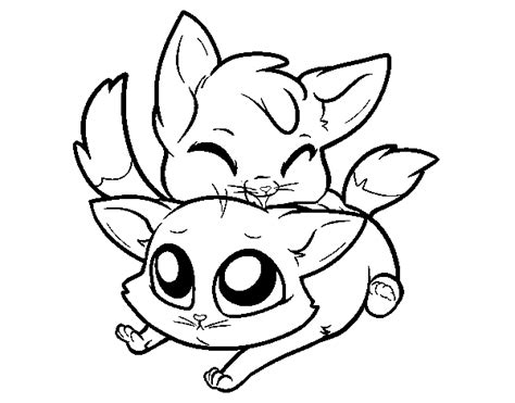 Two Kittens Coloring Page