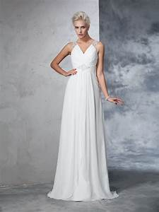 a line princess v neck ruched sleeveless long chiffon With hebeos wedding dresses