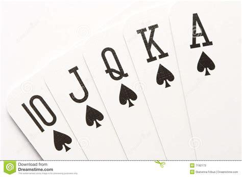 poker spades royal flush stock  image