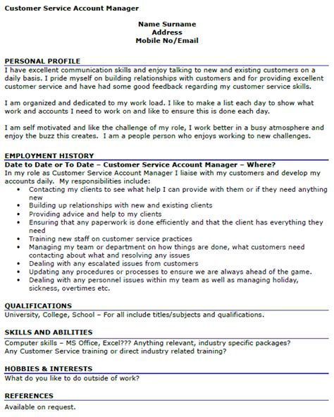customer service account manager cv exle icover org uk